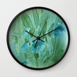 Soft Elegant Watercolor Floral - Blue Wall Clock