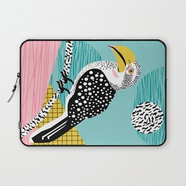 What - memphis tropical retro neon throwback 1980s 80s style hipster abstract bird vacation nature Laptop Sleeve