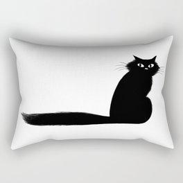 Long Tail Black Cat Rectangular Pillow