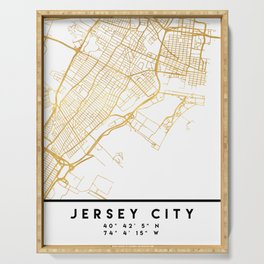 JERSEY CITY NEW JERSEY STREET MAP ART Serving Tray