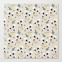 Little white flower pattern on cream background Canvas Print