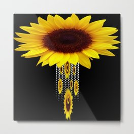 FANCIFUL YELLOW SUNFLOWERS BLACK ART Metal Print