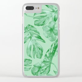 Green Jungle Island Tropical Palm Garden Clear iPhone Case