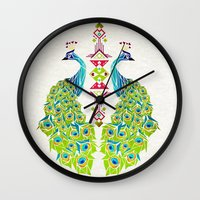 peacock Wall Clocks featuring peacock by Manoou