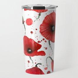 Poppies splatters Travel Mug