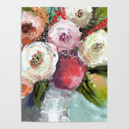 Peach and White Roses Poster