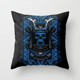 Samurai Skull Blue Throw Pillow