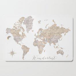 Wanderlust watercolor world map with compass rose Cutting Board