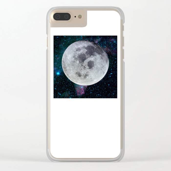 Moon and the stars Clear iPhone Case