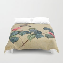 Hummingbird and Japanese Camillea Duvet Cover