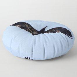 Watercolor Bird, Bald Eagle Juvenile 01, Estes Park, Colorado Floor Pillow