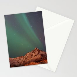 Mountains Landscape: Northern Lights - Aurora Stationery Cards