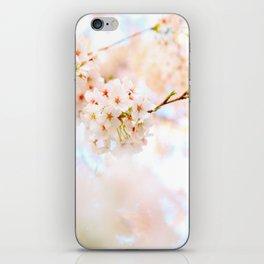 White Floral Photo White Cherry Blossoms Blurred Soft Feminine Art iPhone Skin