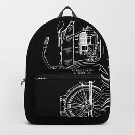 1919 Motorcycle Patent Black White Backpack