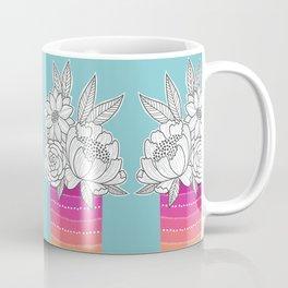 Flower Vase on Aqua Coffee Mug