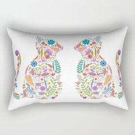 Fancy And Fine Flowered Cat Garden Design Rectangular Pillow