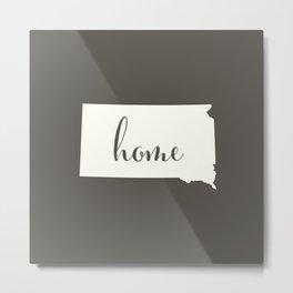 South Dakota is Home - White on Charcoal Metal Print
