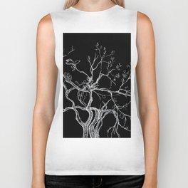 Graphic art, tree leaves, white ink Biker Tank