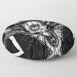 Ram Skull Monochrome Floor Pillow