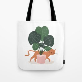 Cat And Plant Tote Bag
