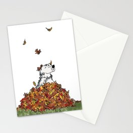 Saunders in Leaves Stationery Cards