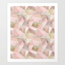 Broken glass in light pink tones. Art Print