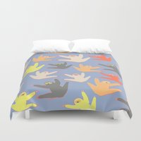 sloths Duvet Covers featuring Print with sloths by Darish