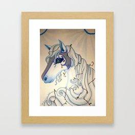 White Winter Fantasy Holly Horse Framed Art Print