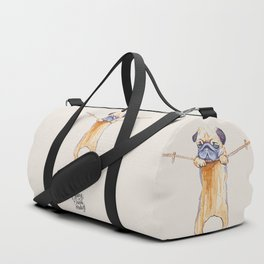 Hang in There Baby Pug Watercolor Duffle Bag