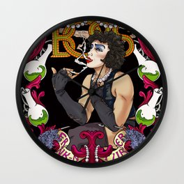 Frank 'n Furter in pink Wall Clock