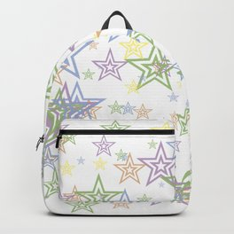 Numerous stars of different sizes and colors on white background Backpack