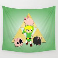 pigs Wall Tapestries featuring Wind Waker Pigs by jeice27