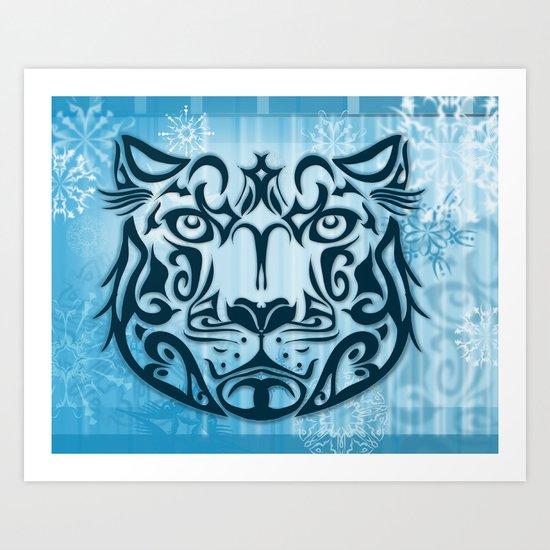 Tribal Graphic Design Illustration winter: Snow Leopard Art Print