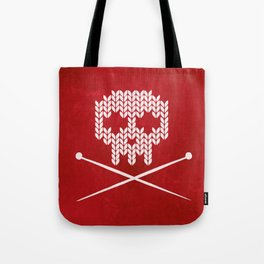 Knitted Skull / Knitting with Attitude (white on red) Tote Bag