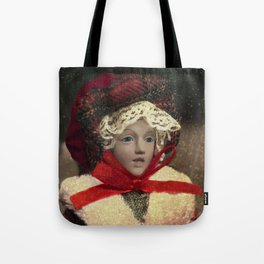 Red hat vintage Christmas doll Tote Bag