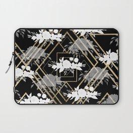 Geometrical faux gold black white floral pattern Laptop Sleeve