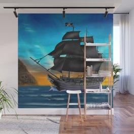 Pirate Ship at Sunset Wall Mural