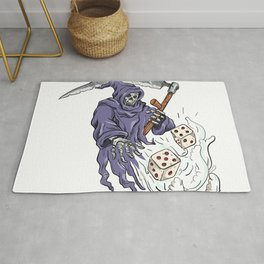 Grim Reaper Throwing the Dice Drawing Color Rug