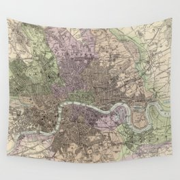Vintage Map of London England (1872) Wall Tapestry