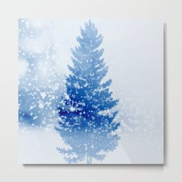 Let It Snow Tree Metal Print