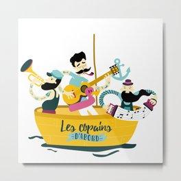 brassens musician music guitare boat sea friends trumpet accordion notes ocean french fun Metal Print