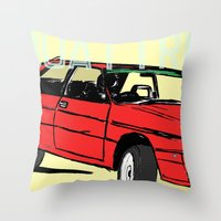 audi Throw Pillows featuring AUDI QUATTRO BRITISH EDITION 20V RED and BEIGE by Егор Шиянов
