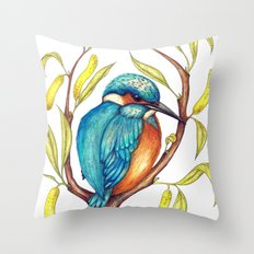Kingfisher on Willow Throw Pillow