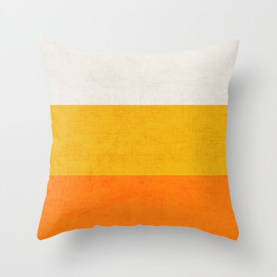three stripes   candy corn throw pillow by her art society6