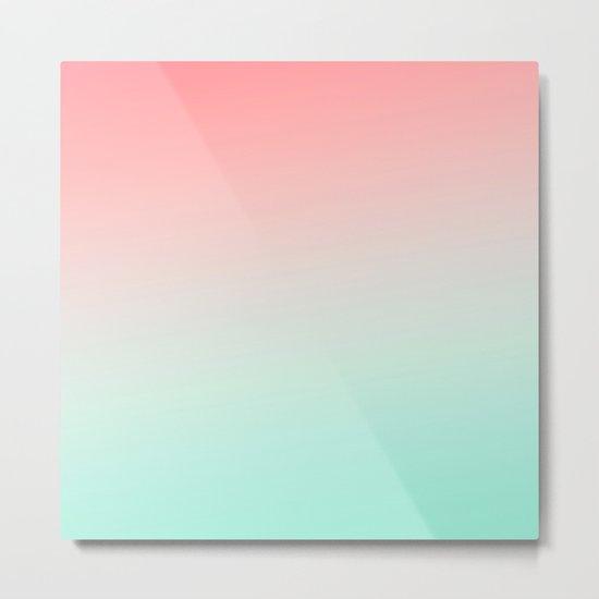 Ombre gradient digital illustration coral green colors Metal Print