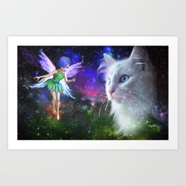 Fairy Encounters Cat Art Print
