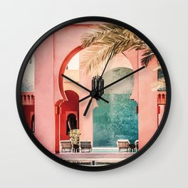 A3 - Wall Art Oil Painting Traditional RIAD & Buildings from Marrakesh, Morocco.  Wall Clock