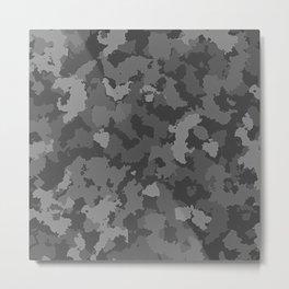 Camouflage Black Gray Metal Print