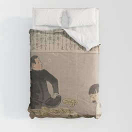 Japanese Art Print - Kiyochika - A Russian Losing a Game of Dai Shogi (1904) Comforters