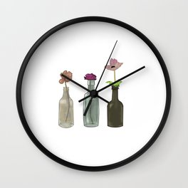 Flowers in Glass Bottles . Pastel Colors Wall Clock
